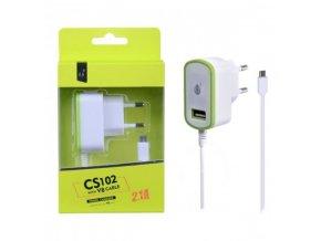 Nabíječka PLUS CS102, kabel MicroUSB + USB výstup 5V/2,1A - zelená