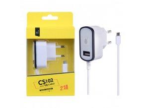 Nabíječka PLUS CS102, kabel MicroUSB + USB výstup 5V/2,1A - černá
