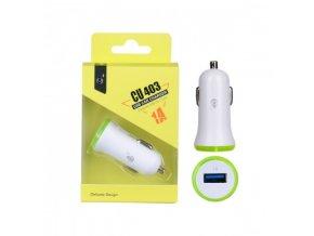 Nabíječka do auta PLUS CU403 s USB výstupem 1A - zelená