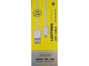 Datový kabel ALIGATOR AA103, iPhone lightning, bílý