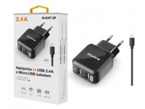 Nabíječka ALIGATOR CHA0020 microUSB s 2xUSB výstupem 2,4A, Turbo charge, černá