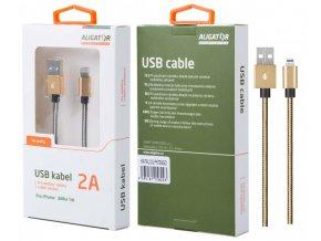 Datový kabel ALIGATOR P5729, iPh lightning, opletený, zlatý