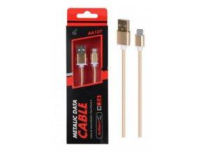 Datový a nabíjecí USB kabel PLUS AA107, pro iPhone lightning, 2A,1M, zlatý