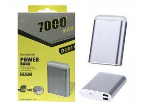 Power Bank PLUS, 7000mAh, se svítilnou, 2x USB výstup, (BU011), silver