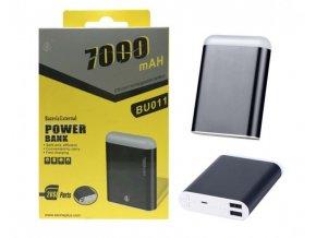 Power Bank PLUS, 7000mAh, se svítilnou, 2x USB výstup, (BU011), černá
