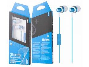 Sluchátka do uší PLUS, s mikrofonem, (C6218), modrá