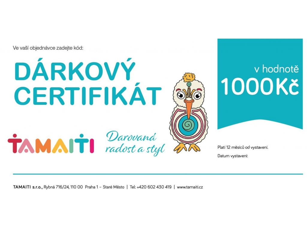Dárkový certifikát 1000Kč
