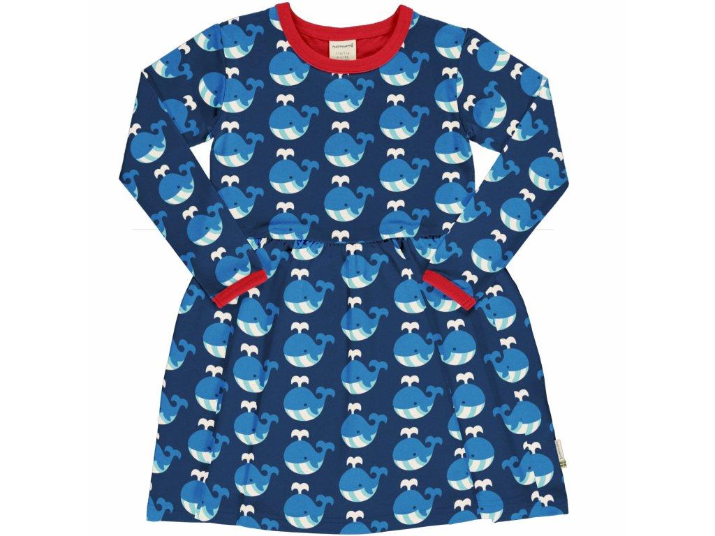 Dívčí šaty s dlouhým rukávem a se skládanou sukní Velryba