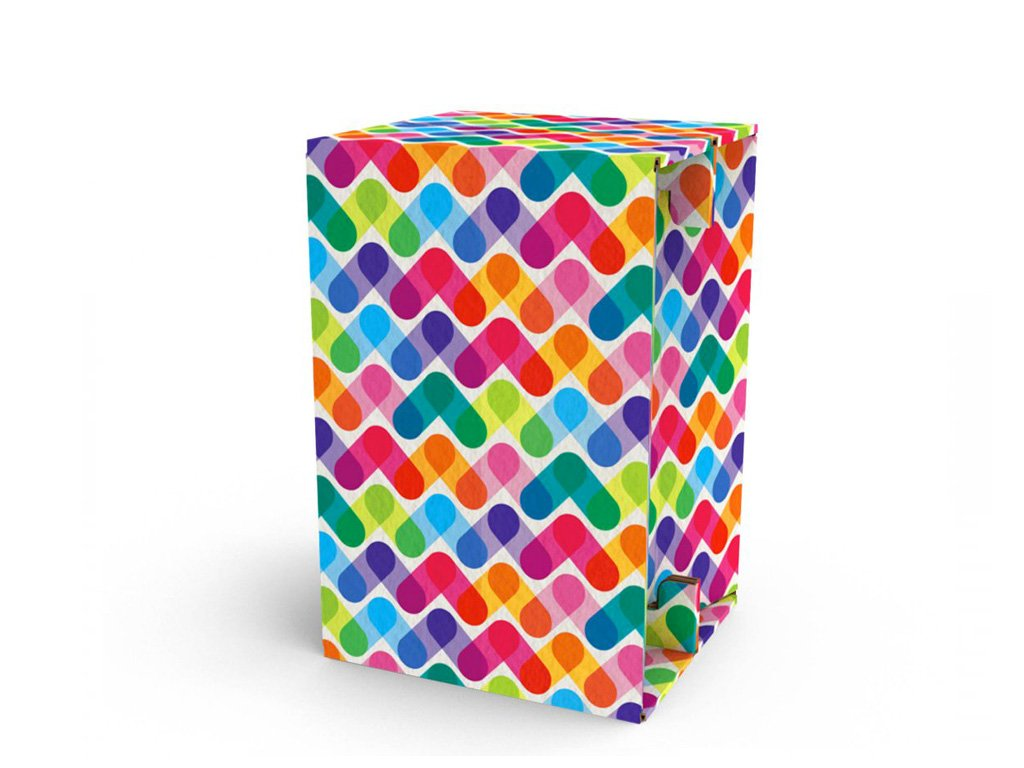 Carton Cajon Colored Stripes front 1