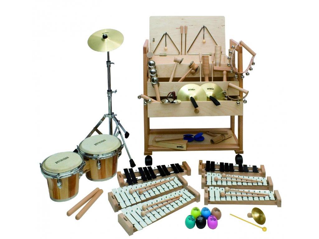 Malý vozík s rytmicko-melodickými nástroji s bongo bubny - GOLDON 30512