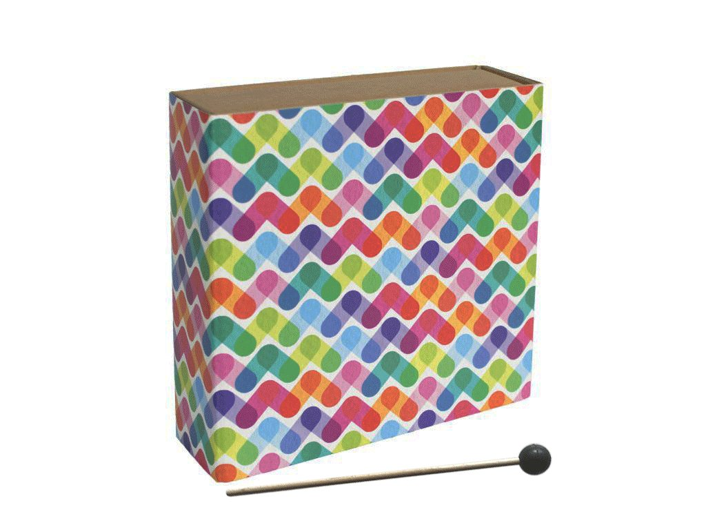 Carton Cajon Ruční Colored Stripes front