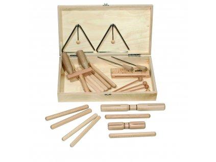 Percussion set 1 v dřevěném boxu - GOLDON 30110