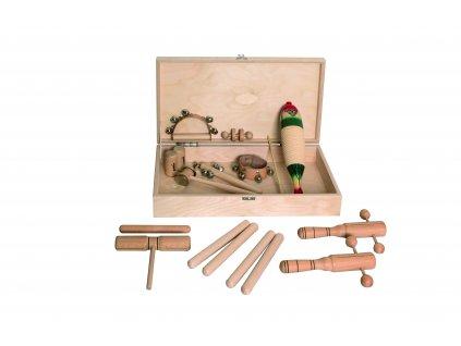 Percussion set 3 v dřevěném boxu - GOLDON 30130