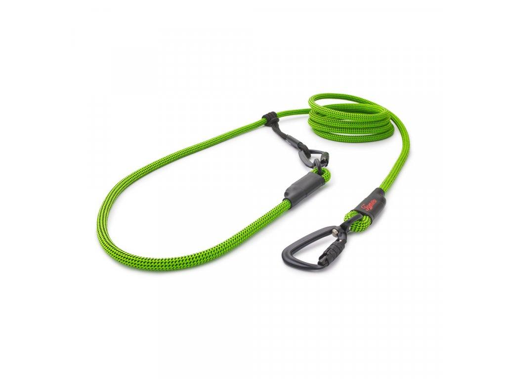Lanové vodítko EASY LONG - TWIST   střední pes   zelené s černým prošitím
