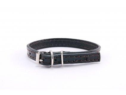 Kožený obojek STUBBY mini | černý