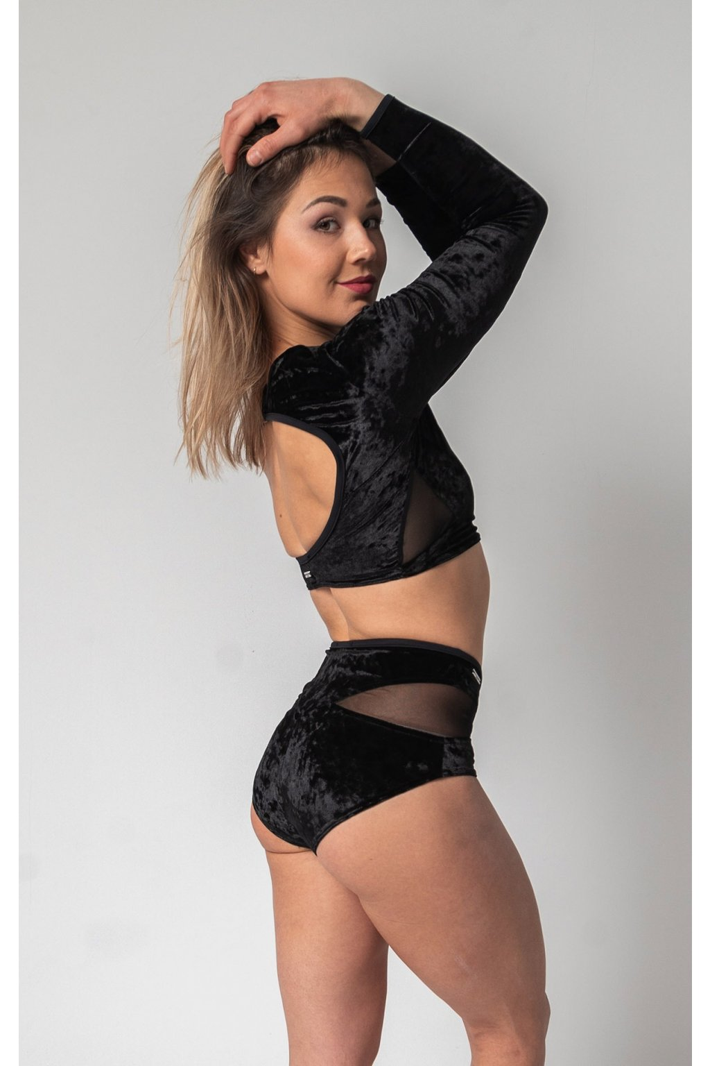 long sleeve black meshcut short side