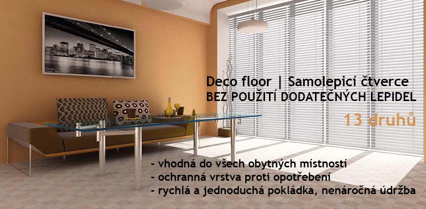 Samolepicí čtverce, Deco floor. Vhodný do každé místnosti v domácnosti