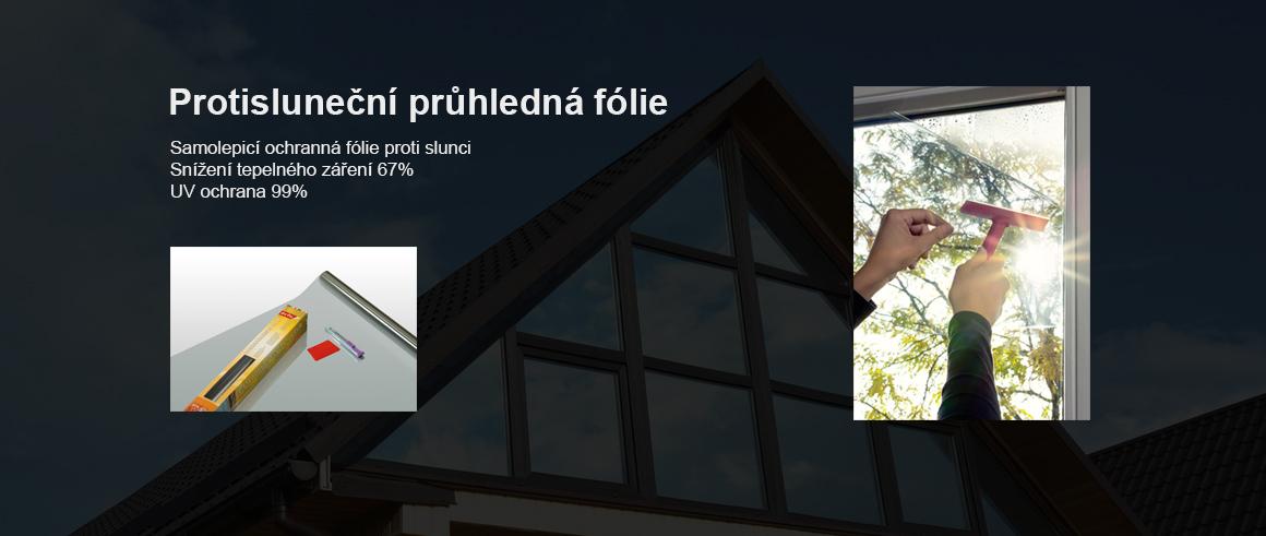 Protisluneční průhledná fólie na sklo