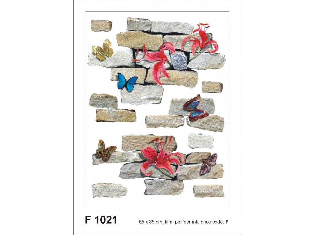 F1021 Samolepicí dekorace BRICKS AND FLOWERS 65 x 85 cm