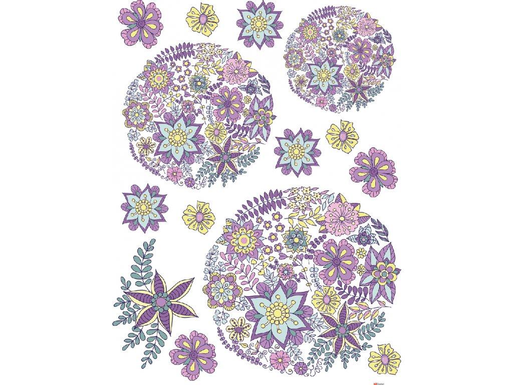 F1052 Samolepicí dekorace FLOWERS 65 x 85 cm