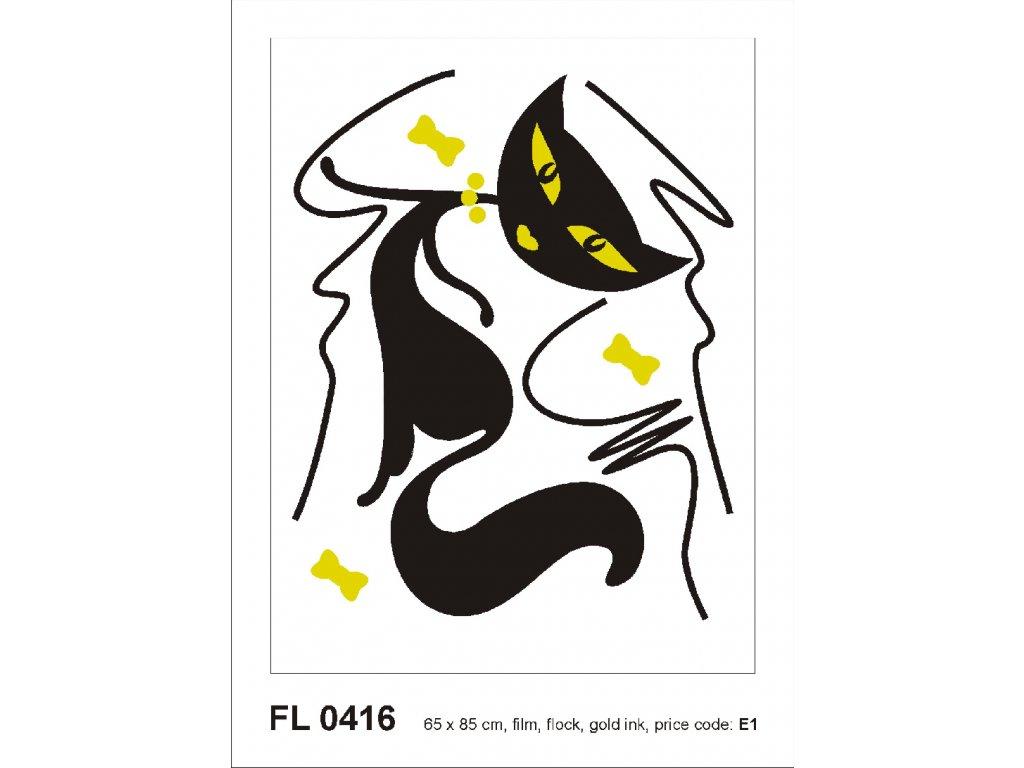 FL0416 Samolepicí velourová dekorace BLACK CAT GIRL FLOCKED  65 x 85 cm