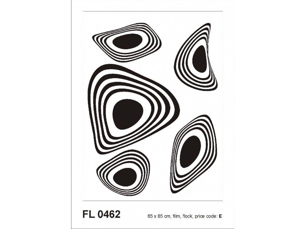 FL0462 Samolepicí velourová dekorace BLACK FLOCK MODERN ORNAMENT 65 x 85 cm