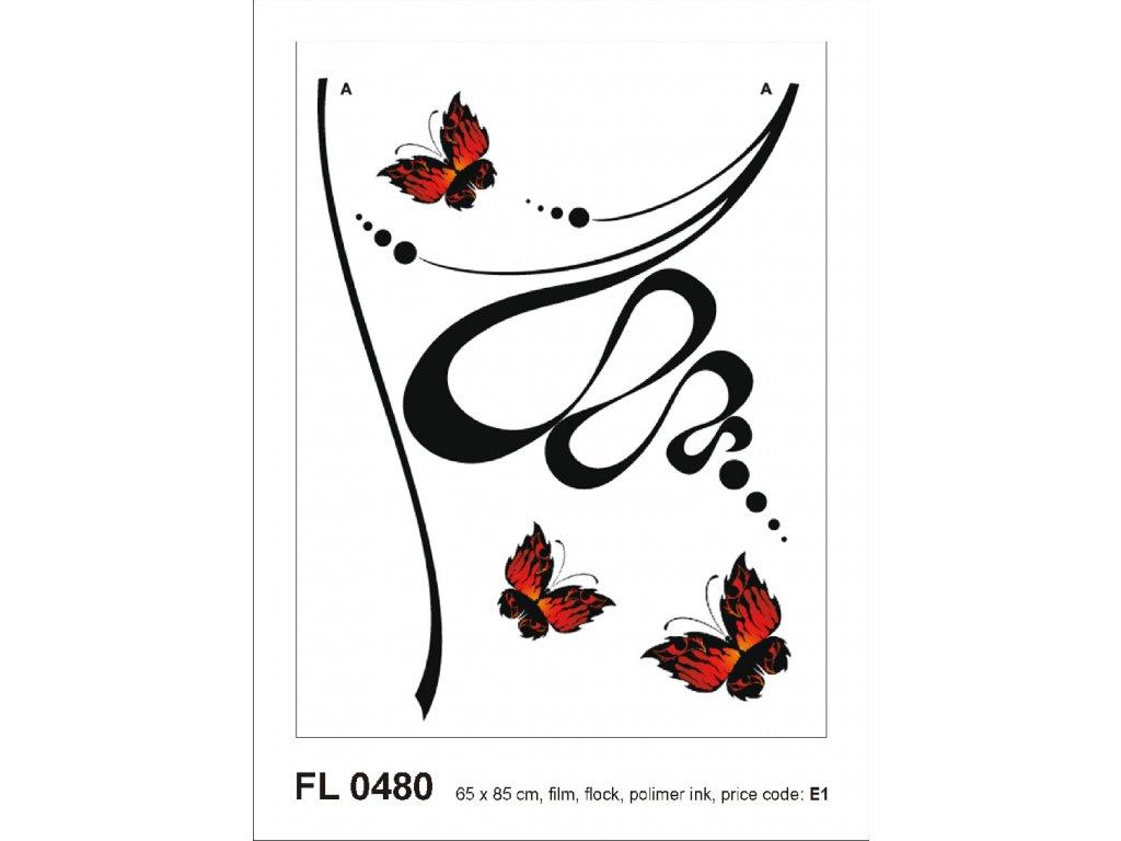 FL0480 Samolepicí velourová dekorace ABSTRACTION WITH BUTTERFLIES 65 x 85 cm