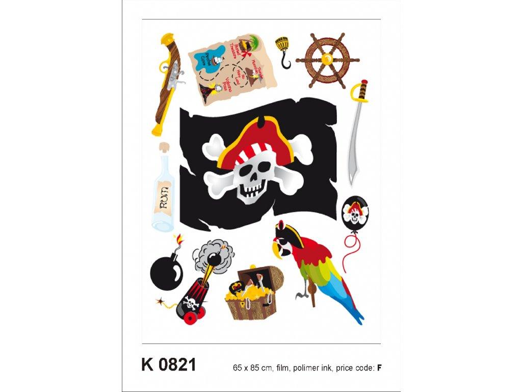 K0821 Samolepicí dekorace PIRATS 65 x 85 cm