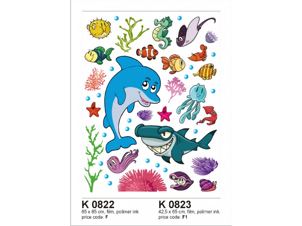 K0822 Samolepicí dekorace DOLPHIN BIG  65 x 85 cm