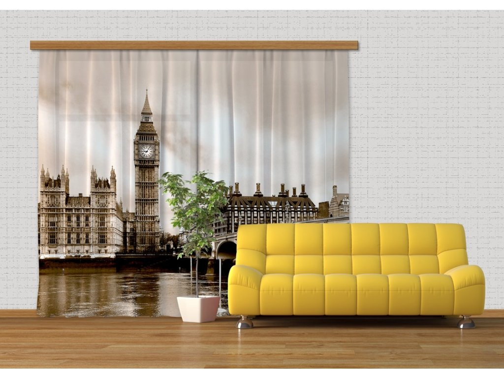 Textilní závěs LONDON FCSXXL7411, 280 x 245 cm (2 ks), lehké zastínění
