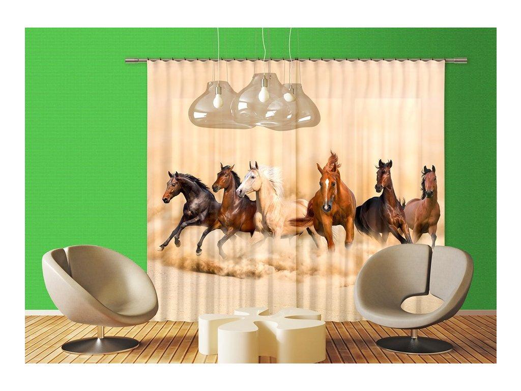 Textilní závěs HORSES FCPXXL6422, 280 x 245 cm (2 ks), úplné zastínění