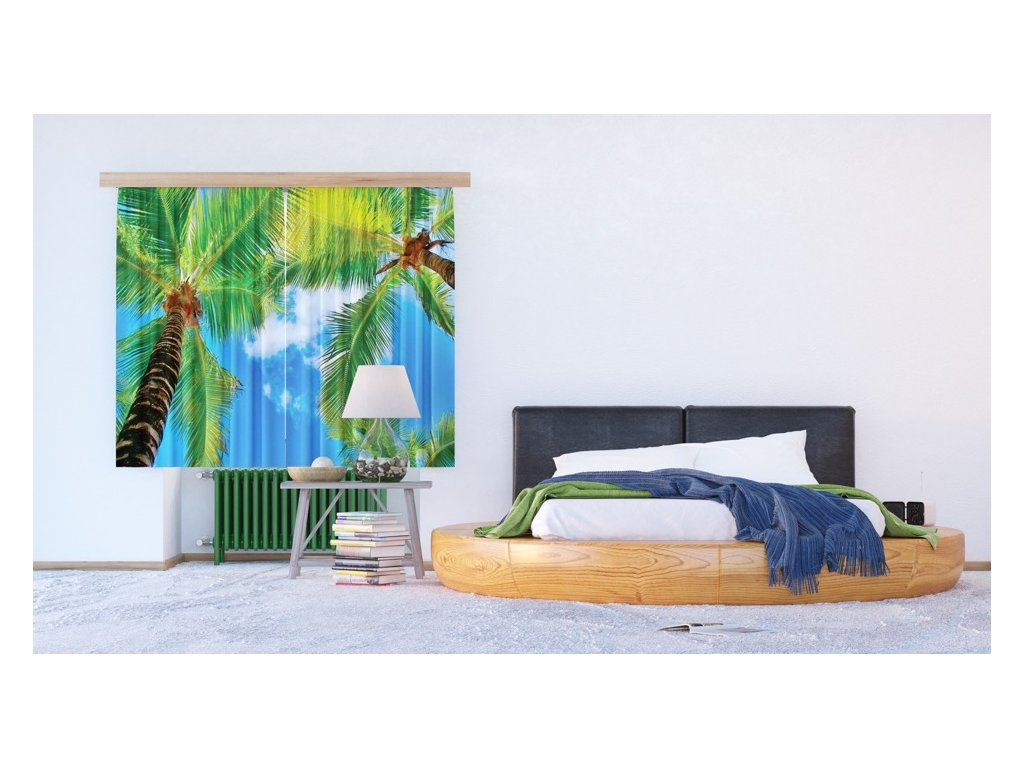 Textilní závěs PALM FCSXL4802, 180 x 160 cm (2 ks), lehké zastínění