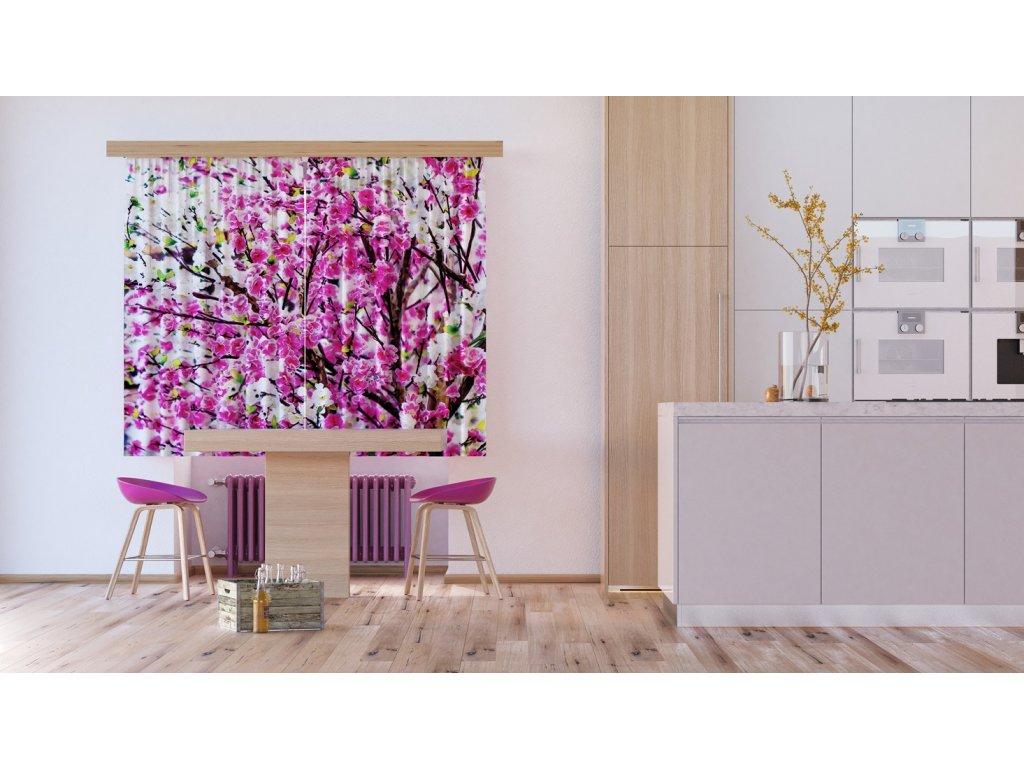 Textilní závěs FLOWERS FCSXL4806, 180 x 160 cm (2 ks), lehké zastínění
