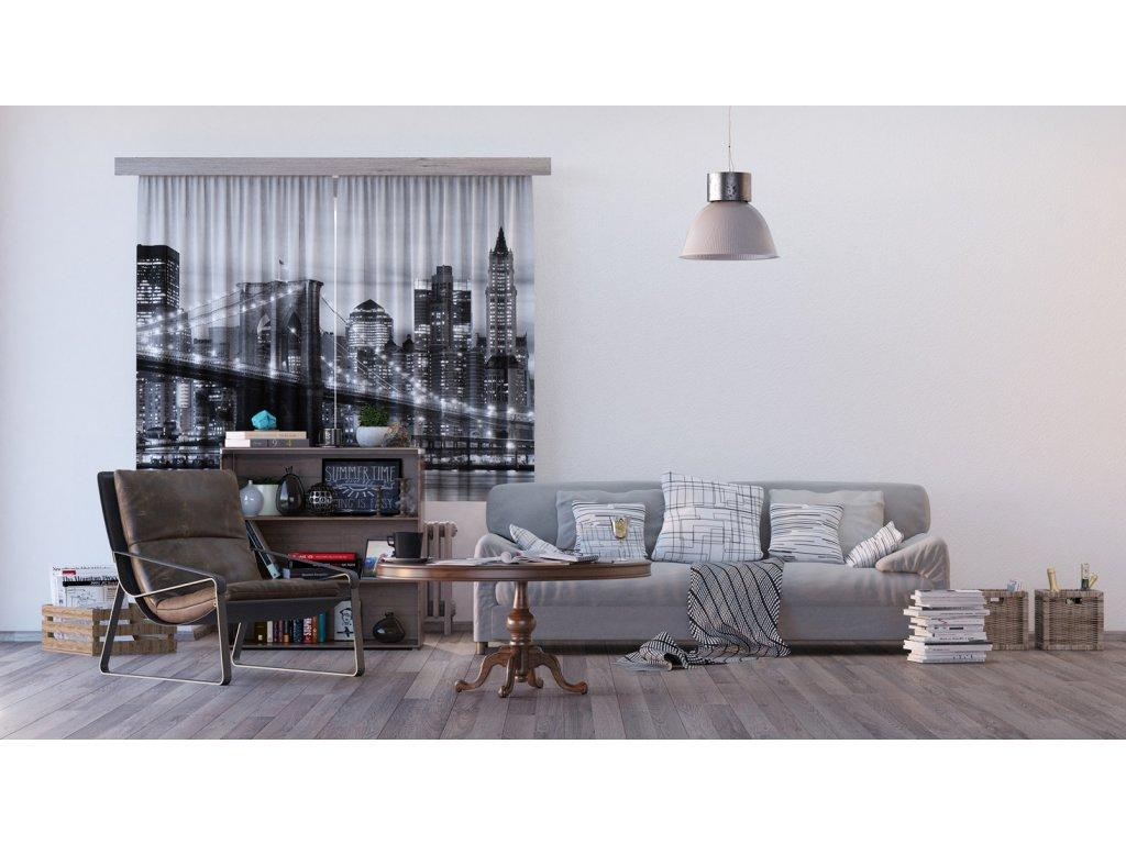 Textilní závěs BRIDGE FCSXL4812, 180 x 160 cm (2 ks), lehké zastínění