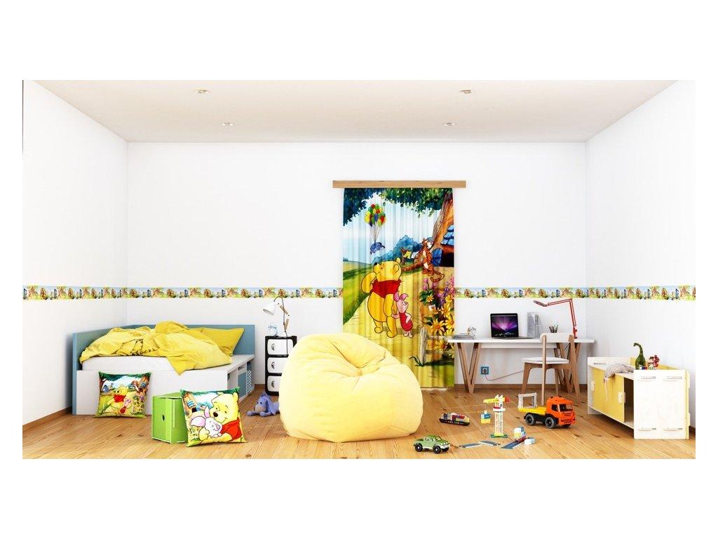 Textilní závěs WINNIE POOH THINKING FCSL7111, 140 x 245 cm (1 ks), lehké zastínění