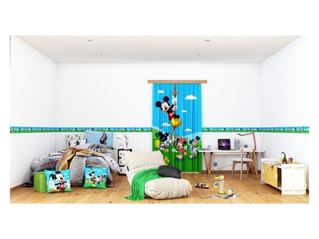 Textilní závěs MICKEY MOUSE FCSL7141, 140 x 245 cm (1 ks), lehké zastínění