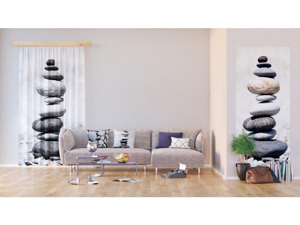Textilní závěs STONES FCSL7504, 140 x 245 cm (1 ks), lehké zastínění