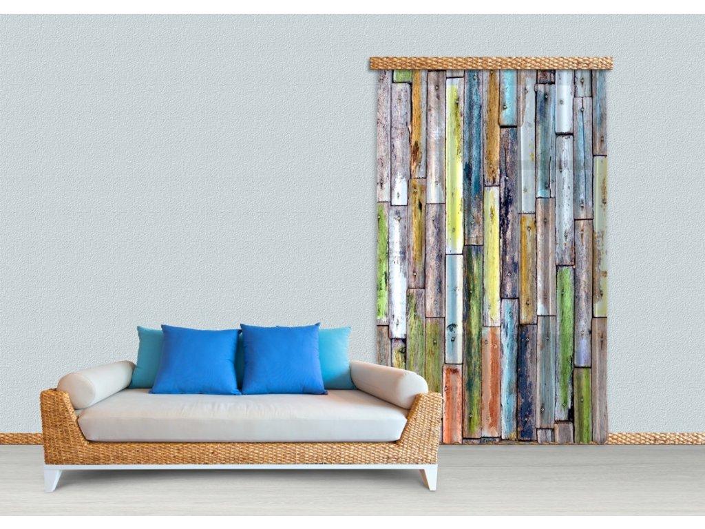 Textilní závěs WOOD FCSL7508, 140 x 245 cm (1 ks), lehké zastínění