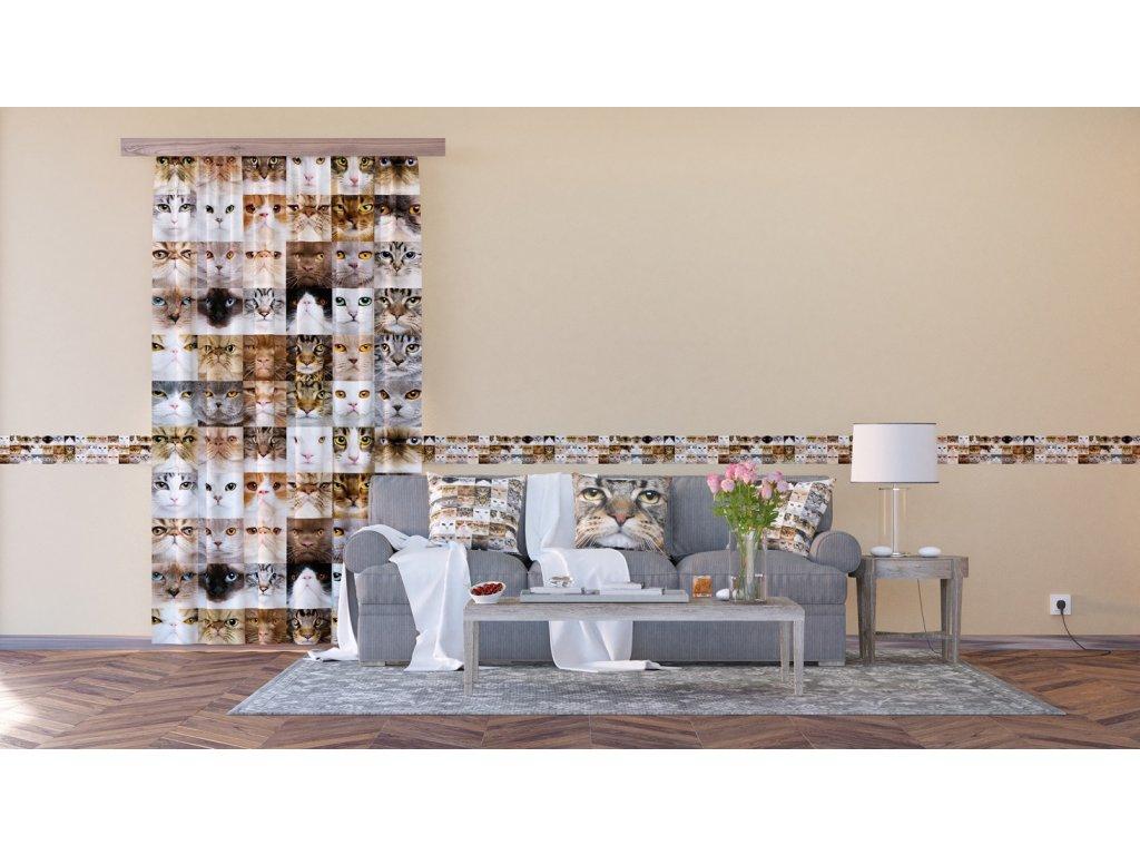 Textilní závěs CATS FCSL7567, 140 x 245 cm (1 ks), lehké zastínění