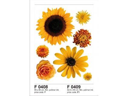 F0408 Samolepicí dekorace SUN FLOWER BIG 65 x 85 cm