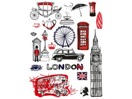 F1038 Samolepicí dekorace LONDON 65 x 85 cm