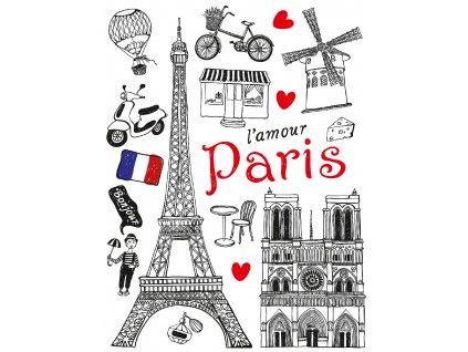 F1039 Samolepicí dekorace PARIS 65 x 85 cm