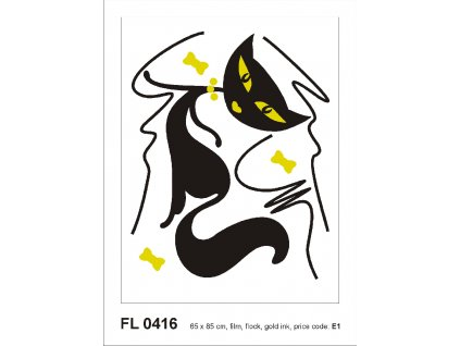 FL0416 Samolepicí velourová dekorace BLACK CAT GIRL FLOCKED  65 x 85 cm