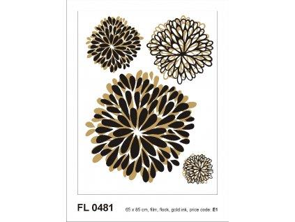 FL0481 Samolepicí velourová dekorace ABSTRACT PEONY 65 x 85 cm