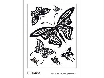 FL0483 Samolepicí velourová dekorace BUTTERFLIES 65 x 85 cm