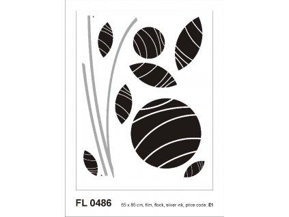 FL0486 Samolepicí velourová dekorace ABSTRACT FLOWERS 65 x 85 cm