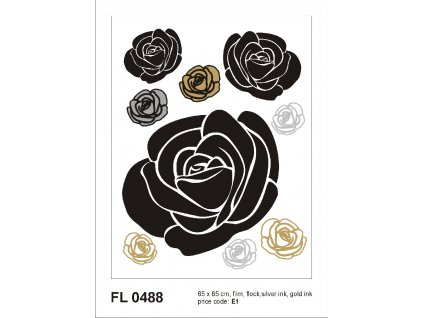 FL0488 Samolepicí velourová dekorace ROSES WITH GOLD AND SILVER 65 x 85 cm