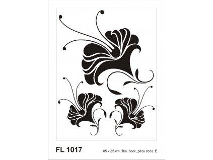 FL1017 Samolepicí velourová dekorace NOSTALGI FLOWER 65 x 85 cm