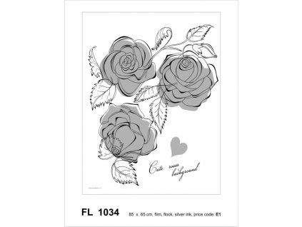 FL1034 Samolepicí velourová dekorace ROSE FLOCK 65 x 85 cm