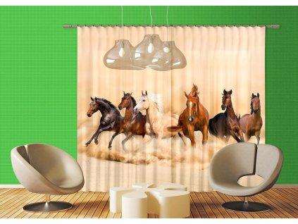 Textilní závěs HORSES FCSXXL7422, 280 x 245 cm (2 ks), lehké zastínění